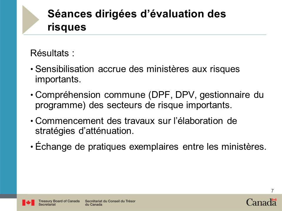 7 Séances dirigées dévaluation des risques Résultats : Sensibilisation accrue des ministères aux risques importants. Compréhension commune (DPF, DPV,