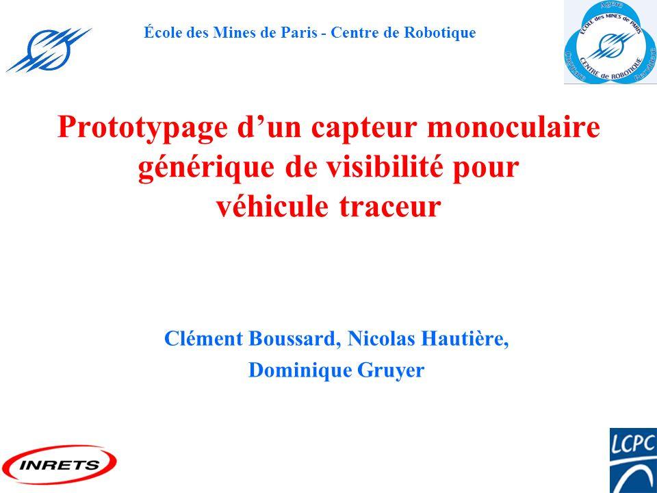 École des Mines de Paris - Centre de Robotique Prototypage dun capteur monoculaire générique de visibilité pour véhicule traceur Clément Boussard, Nic