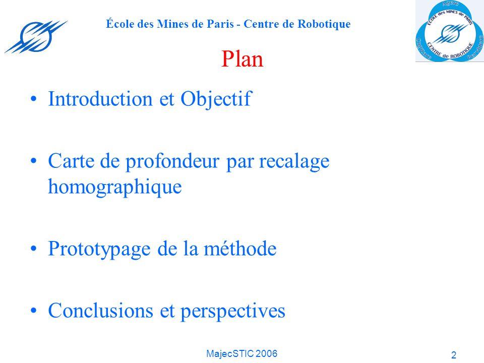 École des Mines de Paris - Centre de Robotique MajecSTIC 2006 2 Plan Introduction et Objectif Carte de profondeur par recalage homographique Prototypa