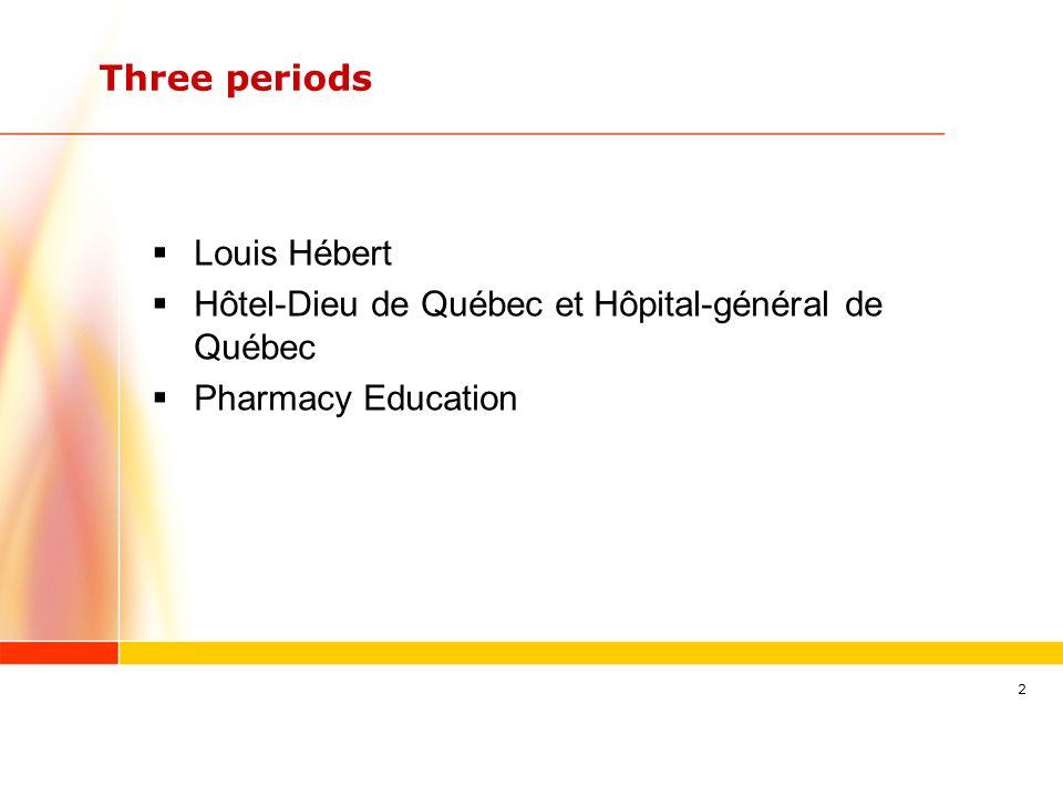 2 Three periods Louis Hébert Hôtel-Dieu de Québec et Hôpital-général de Québec Pharmacy Education