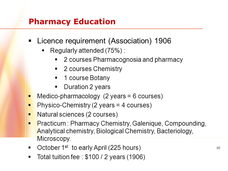 30 Pharmacy Education Licence requirement (Association) 1906 Regularly attended (75%) : 2 courses Pharmacognosia and pharmacy 2 courses Chemistry 1 course Botany Duration 2 years Medico-pharmacology (2 years = 6 courses) Physico-Chemistry (2 years = 4 courses) Natural sciences (2 courses) Practicum : Pharmacy Chemistry, Galenique, Compounding, Analytical chemistry, Biological Chemistry, Bacteriology, Microscopy.