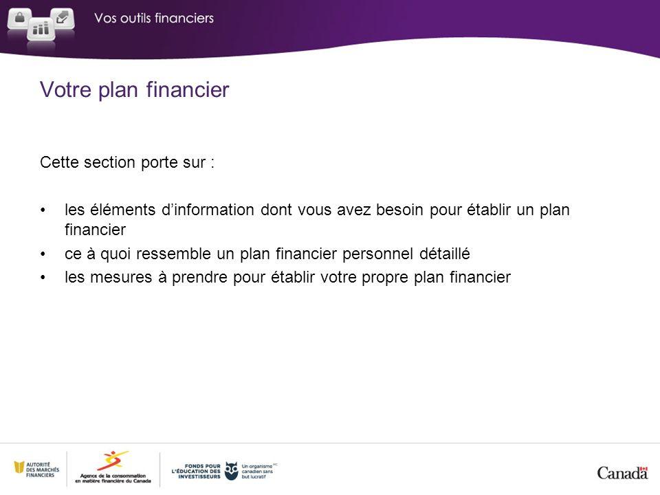 Cette section porte sur : les éléments dinformation dont vous avez besoin pour établir un plan financier ce à quoi ressemble un plan financier personn