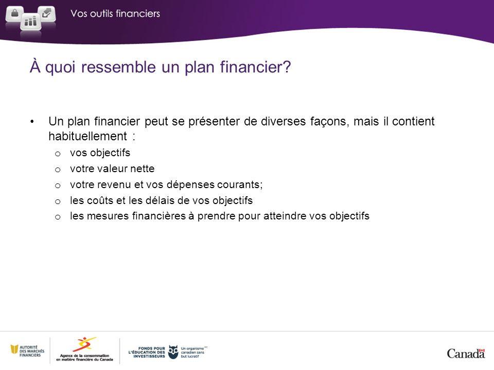 À quoi ressemble un plan financier? Un plan financier peut se présenter de diverses façons, mais il contient habituellement : o vos objectifs o votre