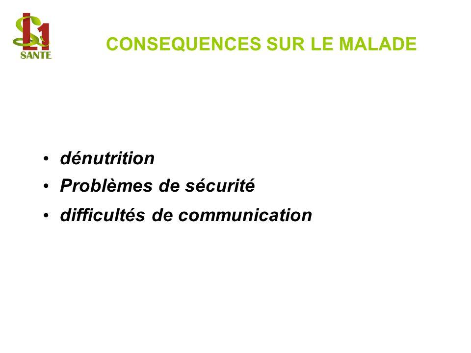 CONSEQUENCES SUR LE MALADE dénutrition Problèmes de sécurité difficultés de communication