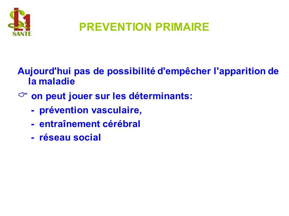 PREVENTION PRIMAIRE Aujourd'hui pas de possibilité d'empêcher l'apparition de la maladie on peut jouer sur les déterminants: - prévention vasculaire,