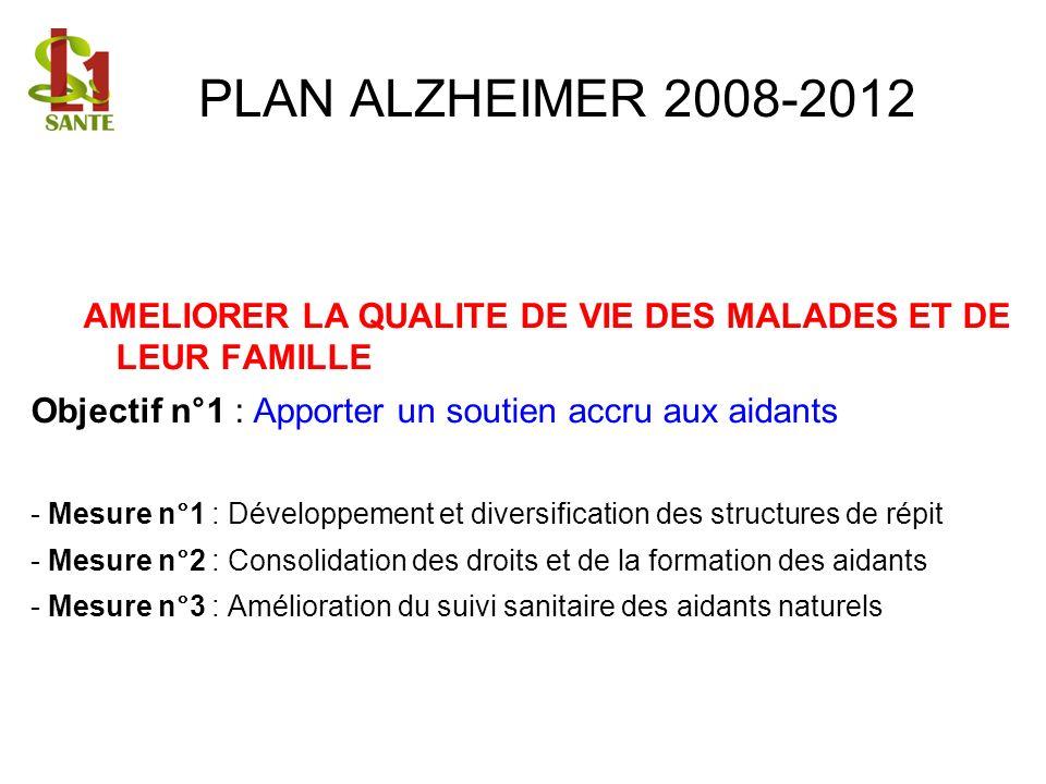 PLAN ALZHEIMER 2008-2012 AMELIORER LA QUALITE DE VIE DES MALADES ET DE LEUR FAMILLE Objectif n°1 : Apporter un soutien accru aux aidants - Mesure n°1