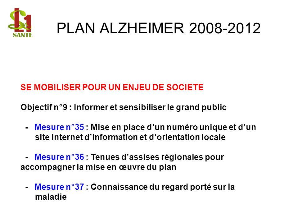 PLAN ALZHEIMER 2008-2012 SE MOBILISER POUR UN ENJEU DE SOCIETE Objectif n°9 : Informer et sensibiliser le grand public - Mesure n°35 : Mise en place d