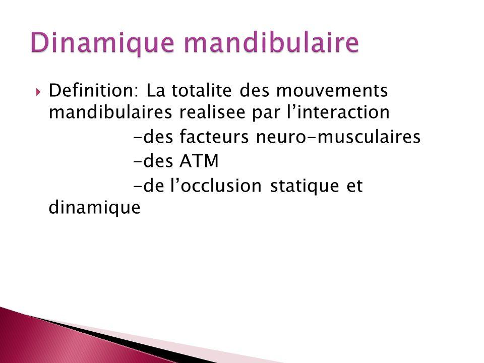 Definition: La totalite des mouvements mandibulaires realisee par linteraction -des facteurs neuro-musculaires -des ATM -de locclusion statique et dinamique