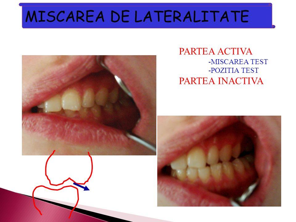 MISCAREA DE LATERALITATE PARTEA ACTIVA -MISCAREA TEST -POZITIA TEST PARTEA INACTIVA