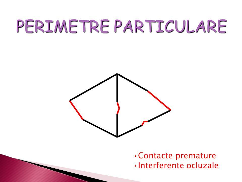 PERIMETRE PARTICULARE Contacte premature Interferente ocluzale