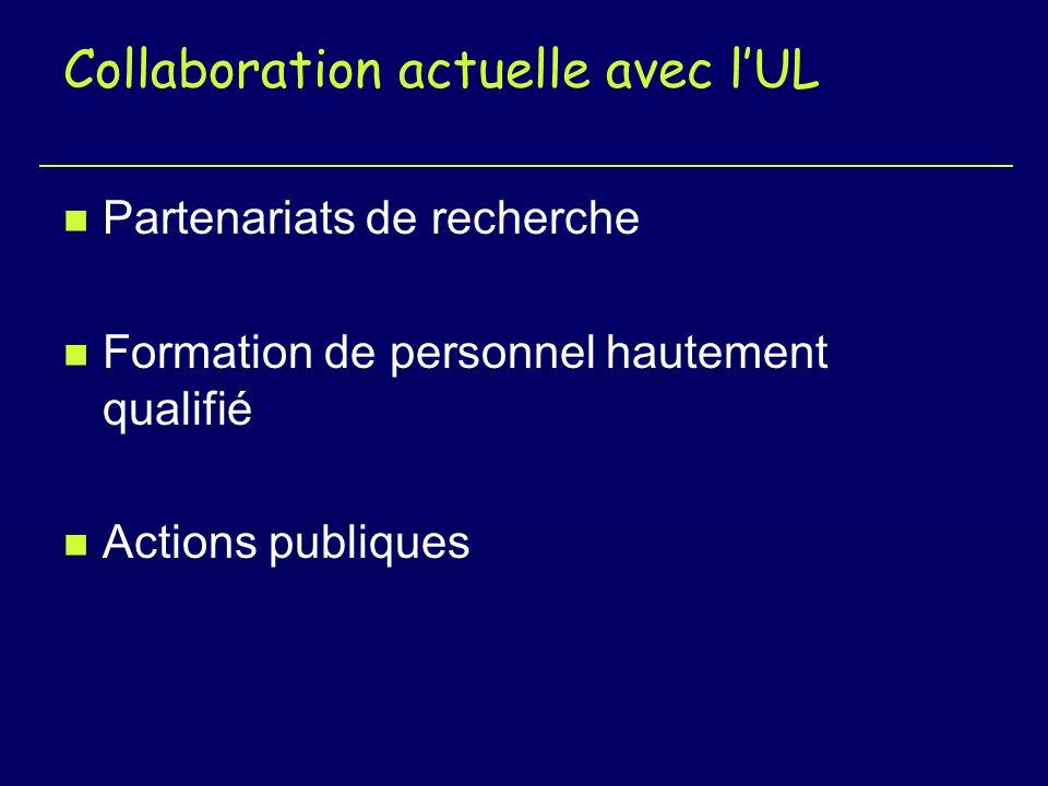 Collaboration actuelle avec lUL n Partenariats de recherche n Formation de personnel hautement qualifié n Actions publiques