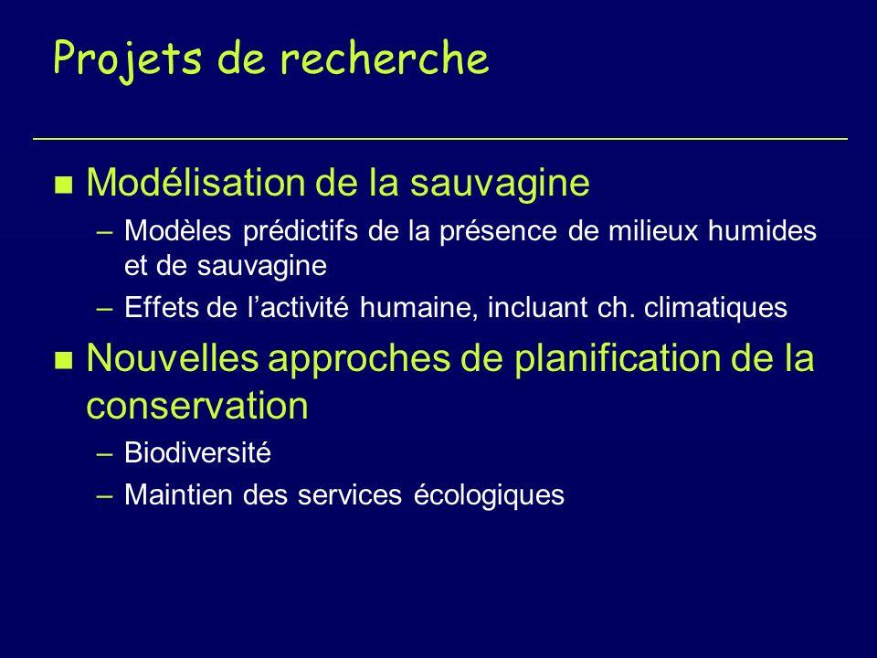 Projets de recherche n Modélisation de la sauvagine –Modèles prédictifs de la présence de milieux humides et de sauvagine –Effets de lactivité humaine, incluant ch.