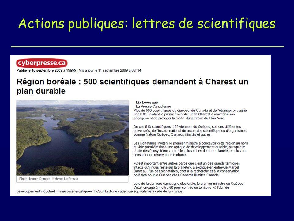 Actions publiques: lettres de scientifiques