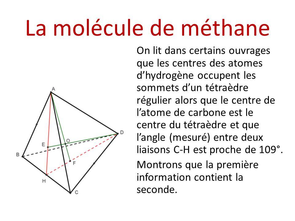 La molécule de méthane On lit dans certains ouvrages que les centres des atomes dhydrogène occupent les sommets dun tétraèdre régulier alors que le ce