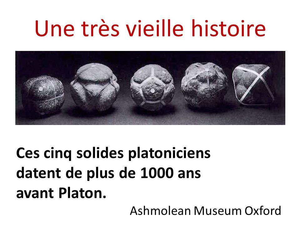 Une très vieille histoire Ces cinq solides platoniciens datent de plus de 1000 ans avant Platon. Ashmolean Museum Oxford