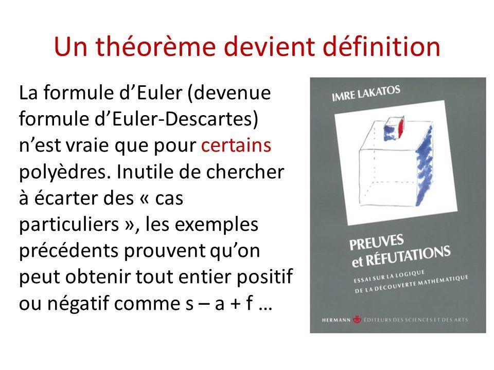 Un théorème devient définition La formule dEuler (devenue formule dEuler-Descartes) nest vraie que pour certains polyèdres. Inutile de chercher à écar