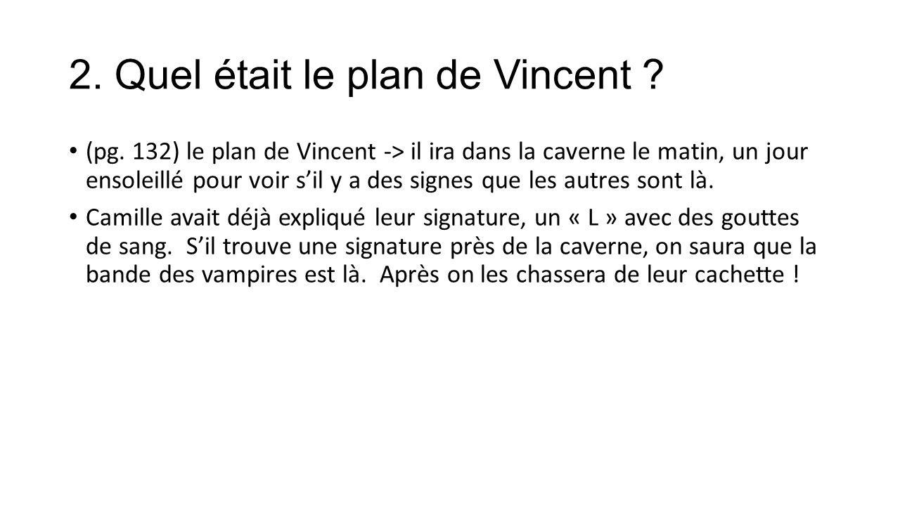 2. Quel était le plan de Vincent . (pg.