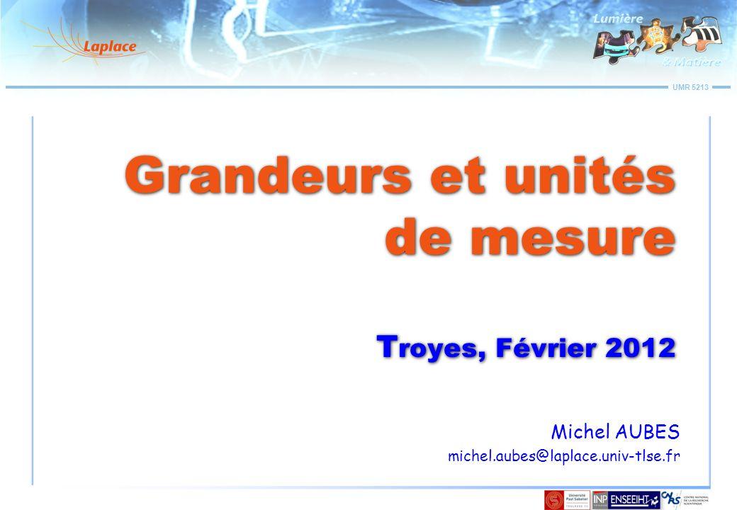 UMR 5213 Grandeurs et unités de mesure Relations entre grandeurs Eclairement en fonction de la distance et de la dimension de la source (Source à Luminance constante)