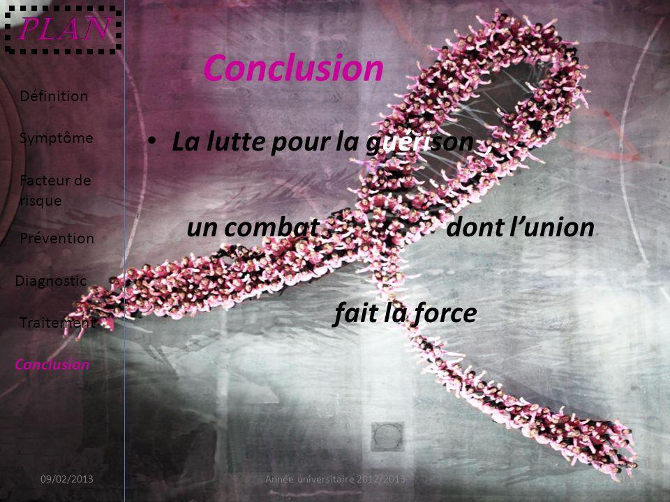 La lutte pour la guérison, un combat dont lunion fait la force 09/02/201310Année universitaire 2012/2013 Définition Symptôme Facteur de risque Prévent