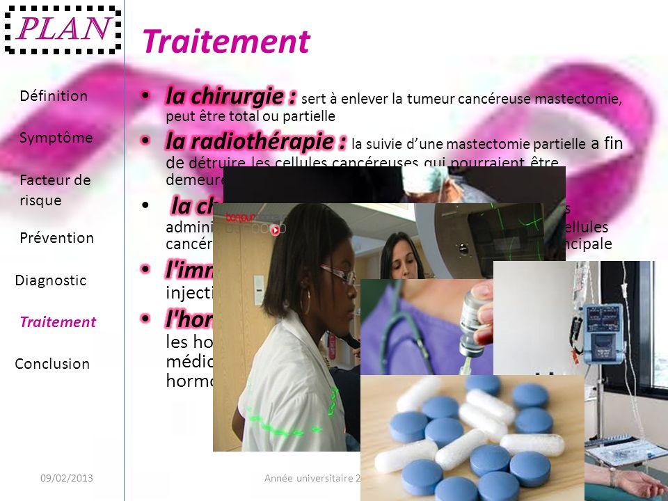 Traitement 09/02/20139Année universitaire 2012/2013 Définition Symptôme Facteur de risque Prévention Diagnostic Traitement Conclusion