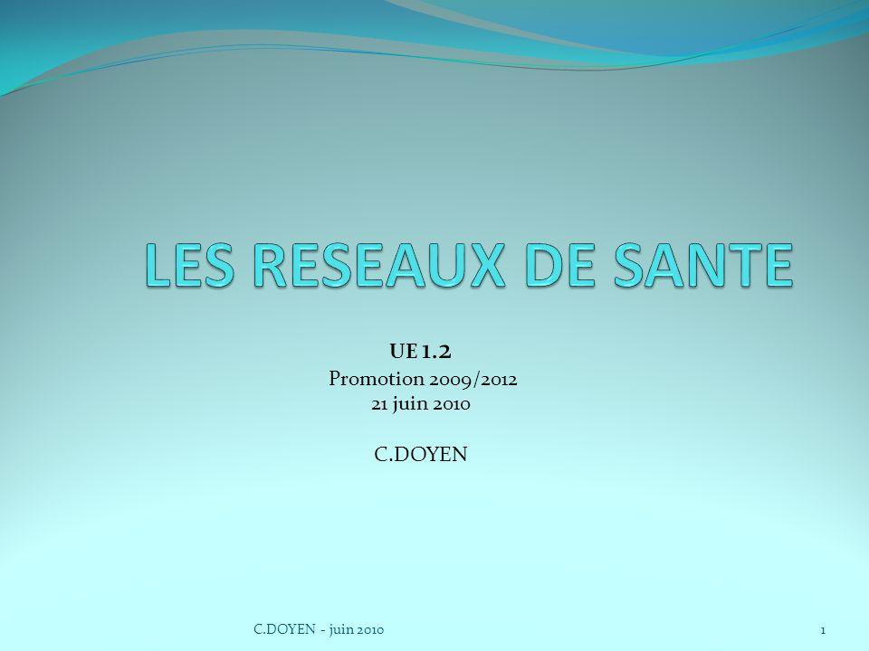 UE 1.2 Promotion 2009/2012 21 juin 2010 C.DOYEN 1C.DOYEN - juin 2010