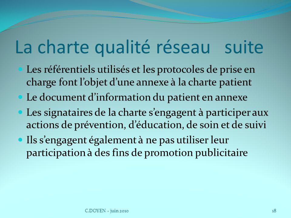 La charte qualité réseau suite Les référentiels utilisés et les protocoles de prise en charge font lobjet dune annexe à la charte patient Le document