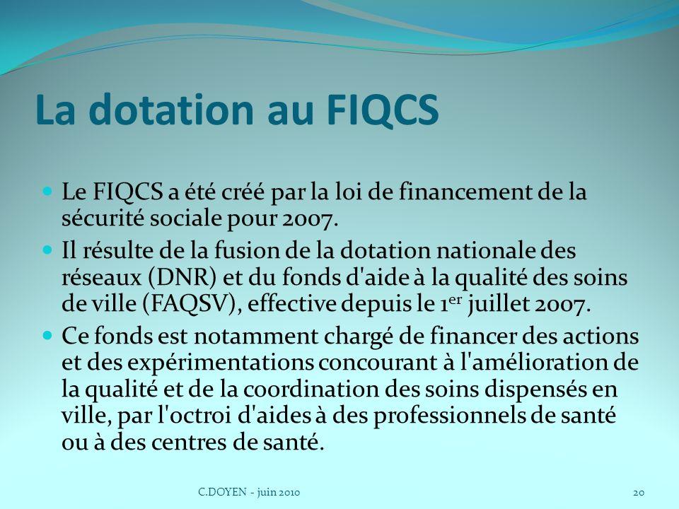 La dotation au FIQCS Le FIQCS a été créé par la loi de financement de la sécurité sociale pour 2007. Il résulte de la fusion de la dotation nationale