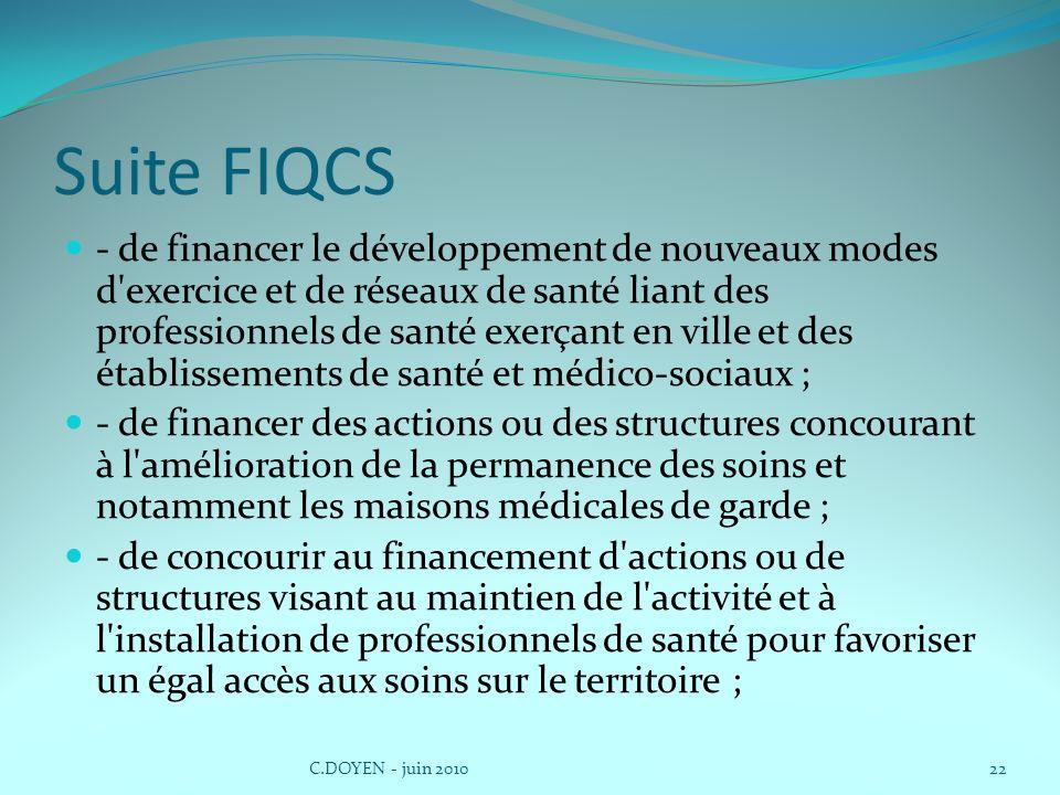 Suite FIQCS - de financer le développement de nouveaux modes d'exercice et de réseaux de santé liant des professionnels de santé exerçant en ville et