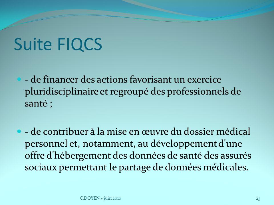Suite FIQCS - de financer des actions favorisant un exercice pluridisciplinaire et regroupé des professionnels de santé ; - de contribuer à la mise en œuvre du dossier médical personnel et, notamment, au développement d une offre d hébergement des données de santé des assurés sociaux permettant le partage de données médicales.