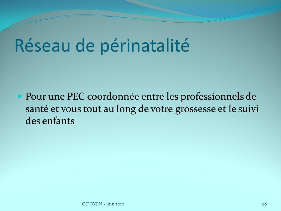 Réseau de périnatalité Pour une PEC coordonnée entre les professionnels de santé et vous tout au long de votre grossesse et le suivi des enfants C.DOYEN - juin 201029