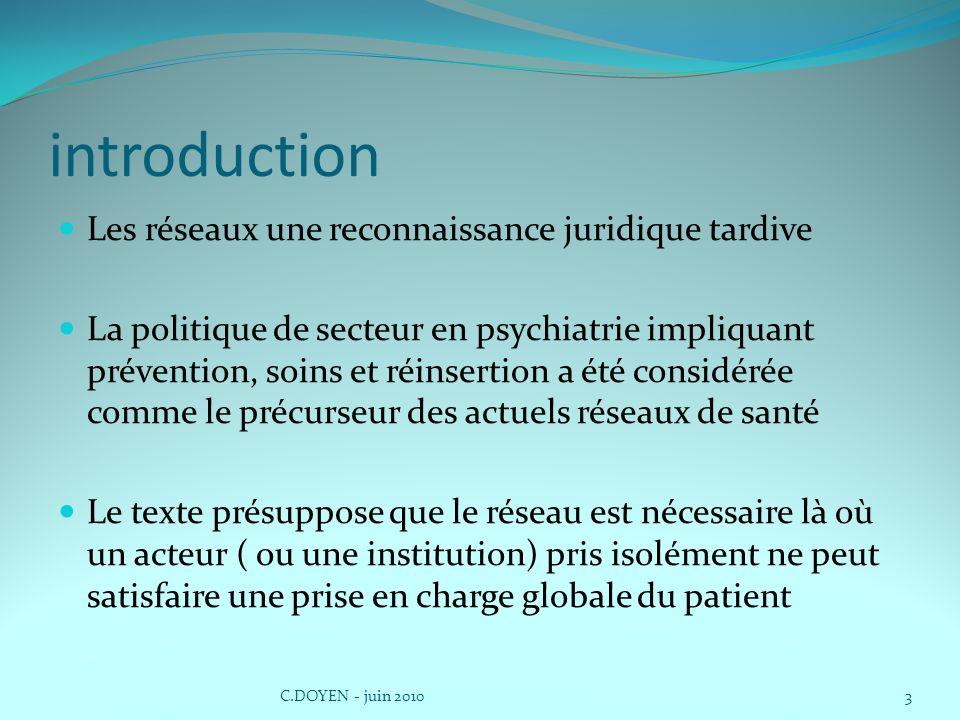 introduction Les réseaux une reconnaissance juridique tardive La politique de secteur en psychiatrie impliquant prévention, soins et réinsertion a été