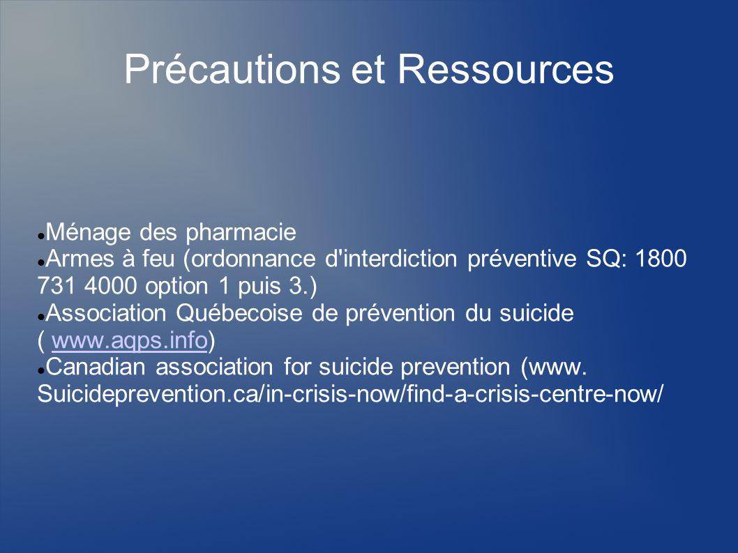 Précautions et Ressources Ménage des pharmacie Armes à feu (ordonnance d'interdiction préventive SQ: 1800 731 4000 option 1 puis 3.) Association Québe