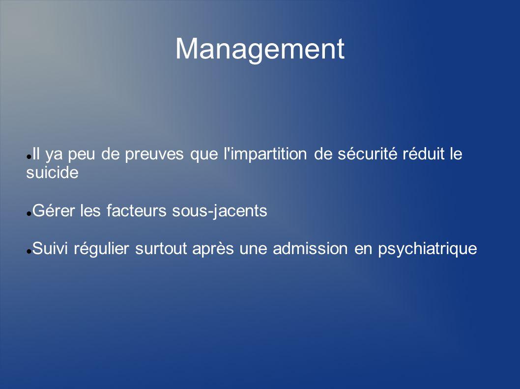Management Il ya peu de preuves que l'impartition de sécurité réduit le suicide Gérer les facteurs sous-jacents Suivi régulier surtout après une admis