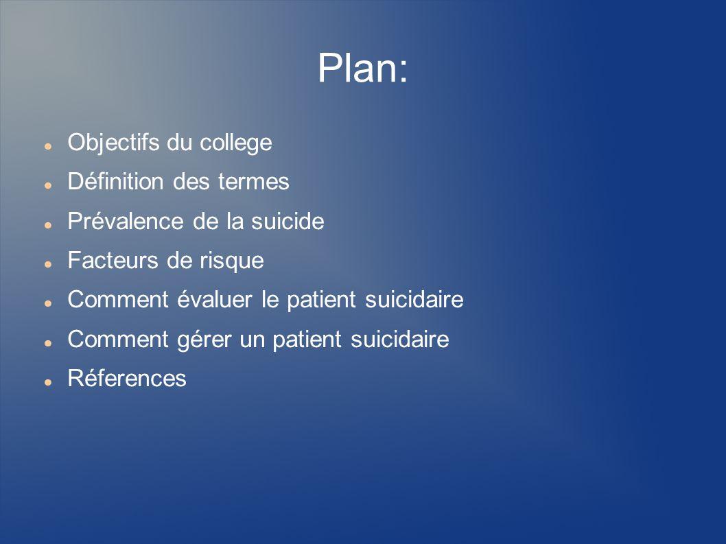 Plan: Objectifs du college Définition des termes Prévalence de la suicide Facteurs de risque Comment évaluer le patient suicidaire Comment gérer un pa