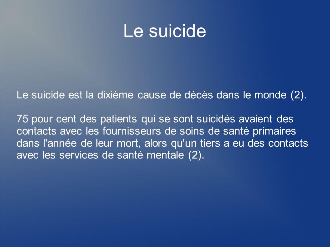 Le suicide Le suicide est la dixième cause de décès dans le monde (2). 75 pour cent des patients qui se sont suicidés avaient des contacts avec les fo