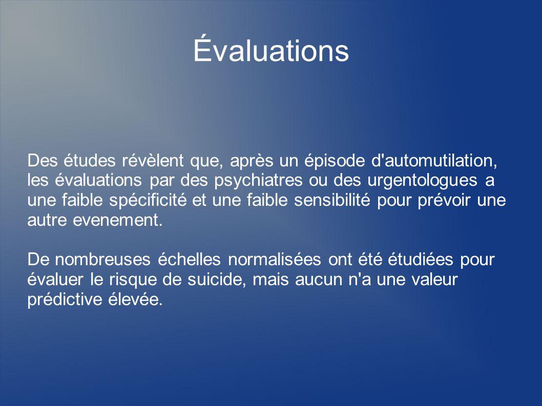 Évaluations Des études révèlent que, après un épisode d'automutilation, les évaluations par des psychiatres ou des urgentologues a une faible spécific