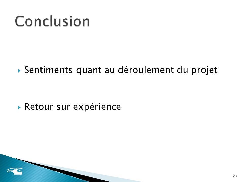 Sentiments quant au déroulement du projet Retour sur expérience 23