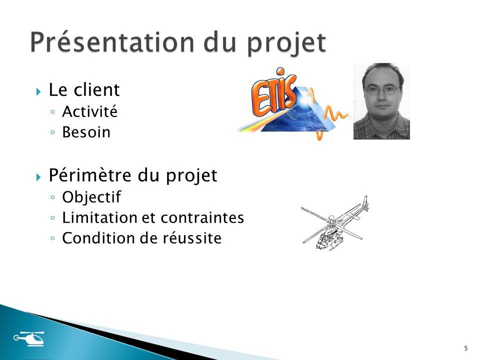 Le client Activité Besoin Périmètre du projet Objectif Limitation et contraintes Condition de réussite 5