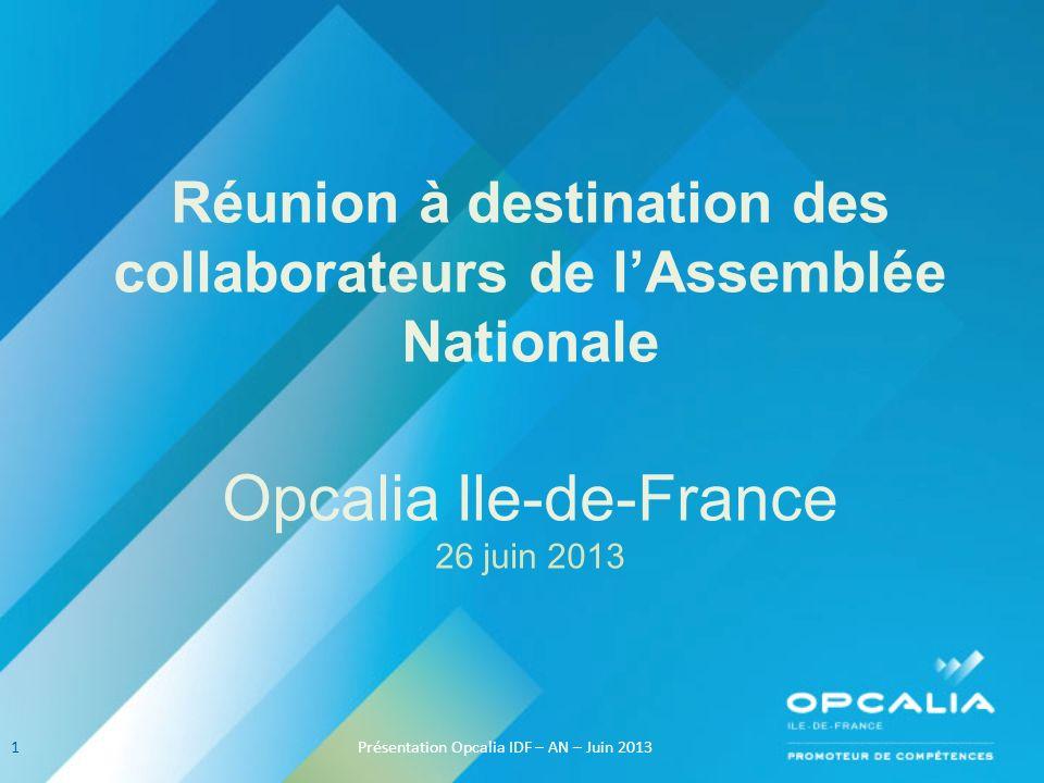 Réunion à destination des collaborateurs de lAssemblée Nationale Opcalia Ile-de-France 26 juin 2013 1Présentation Opcalia IDF – AN – Juin 2013