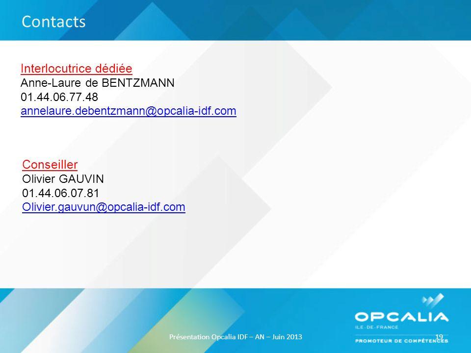 19Présentation Opcalia IDF – AN – Juin 2013 Interlocutrice dédiée Anne-Laure de BENTZMANN 01.44.06.77.48 annelaure.debentzmann@opcalia-idf.com Contact