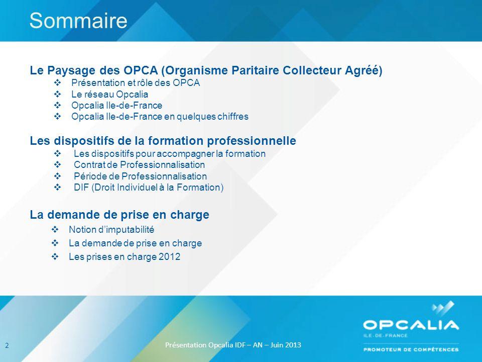 Sommaire Le Paysage des OPCA (Organisme Paritaire Collecteur Agréé) Présentation et rôle des OPCA Le réseau Opcalia Opcalia Ile-de-France Opcalia Ile-