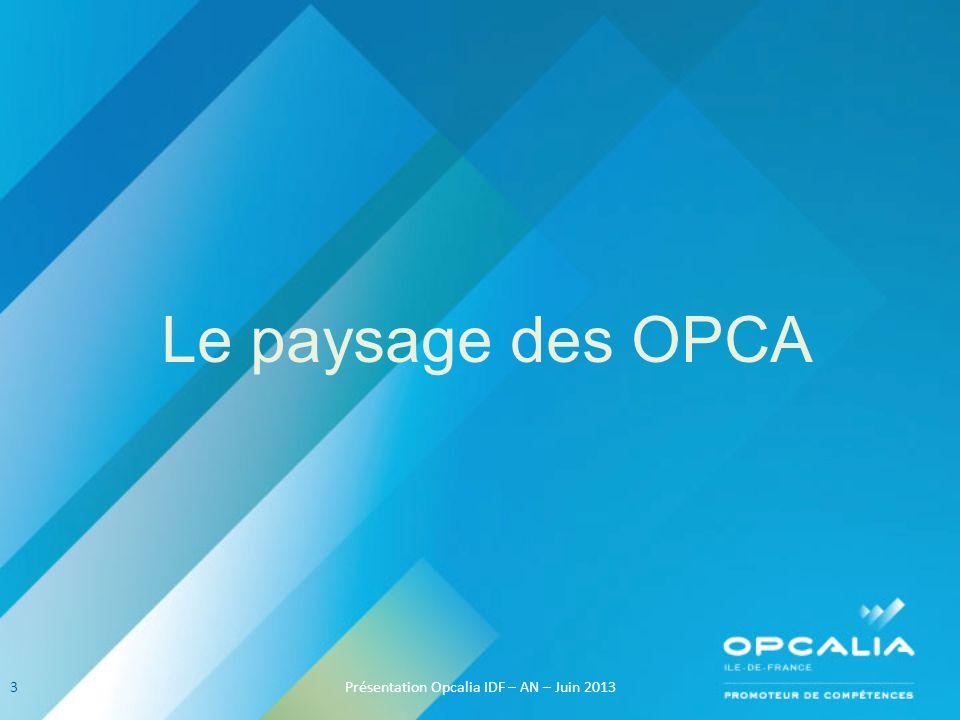 Le paysage des OPCA 3Présentation Opcalia IDF – AN – Juin 2013