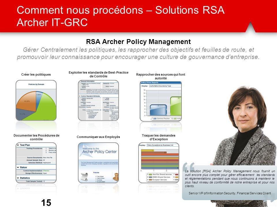 Comment nous procédons – Solutions RSA Archer IT-GRC 15 Rapprocher des sources qui font autorité Exploiter les standards de Best-Practice de Contrôle