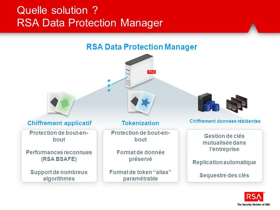 Quelle solution ? RSA Data Protection Manager RSA Data Protection Manager Chiffrement applicatif Protection de bout-en- bout Performances reconnues (R