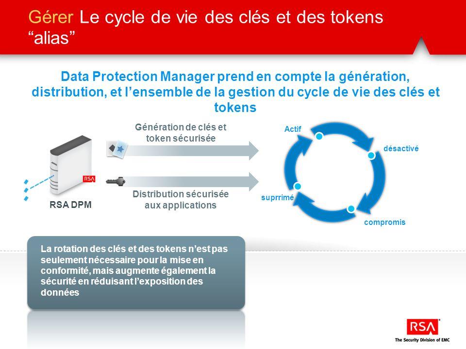 Gérer Le cycle de vie des clés et des tokens alias Data Protection Manager prend en compte la génération, distribution, et lensemble de la gestion du