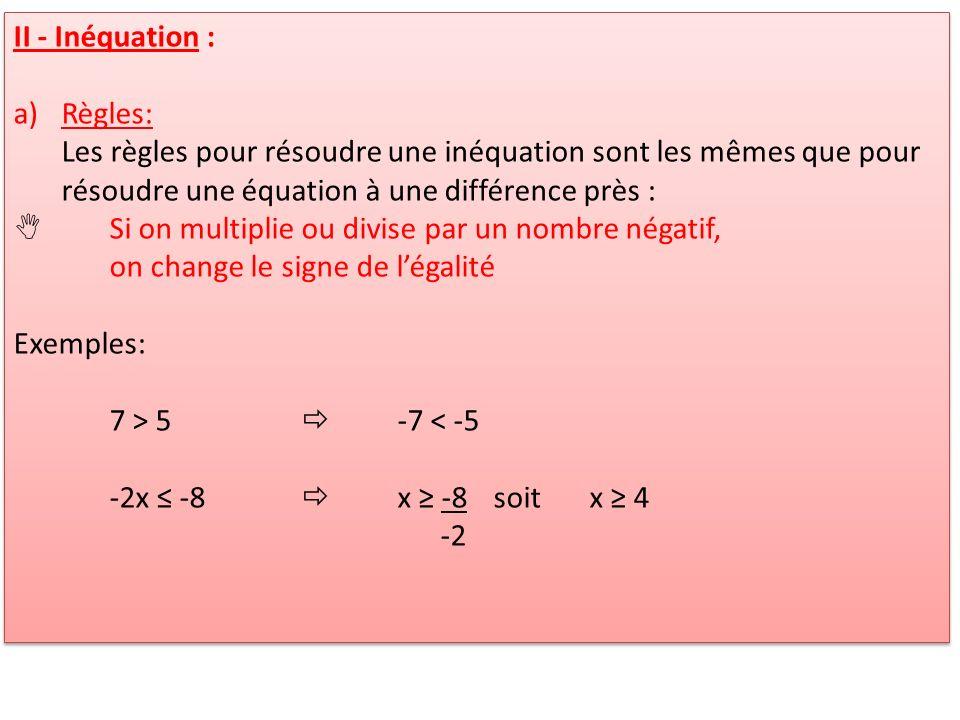 II - Inéquation : a)Règles: Les règles pour résoudre une inéquation sont les mêmes que pour résoudre une équation à une différence près : Si on multip