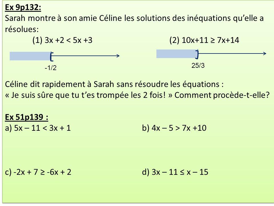 Ex 9p132: Sarah montre à son amie Céline les solutions des inéquations quelle a résolues: (1) 3x +2 < 5x +3(2) 10x+11 7x+14 Céline dit rapidement à Sa
