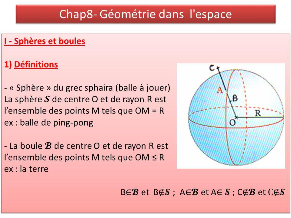 Chap8- Géométrie dans l'espace I - Sphères et boules 1) Définitions - « Sphère » du grec sphaira (balle à jouer) La sphère de centre O et de rayon R e