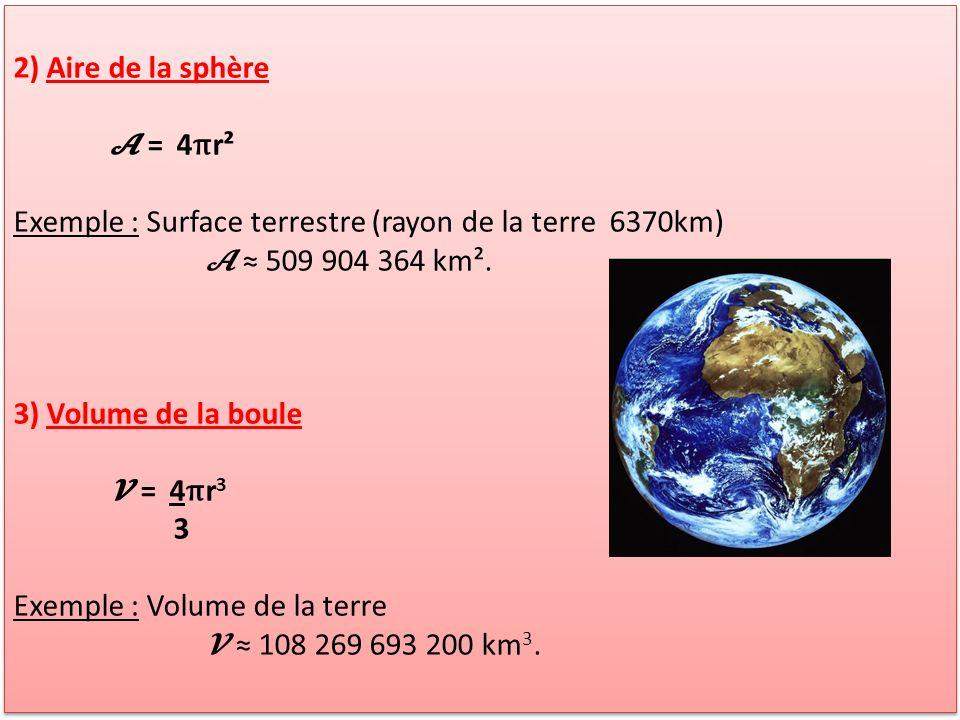 2) Aire de la sphère = 4 π r² Exemple : Surface terrestre (rayon de la terre 6370km) 509 904 364 km². 3) Volume de la boule = 4 π r 3 3 Exemple : Volu