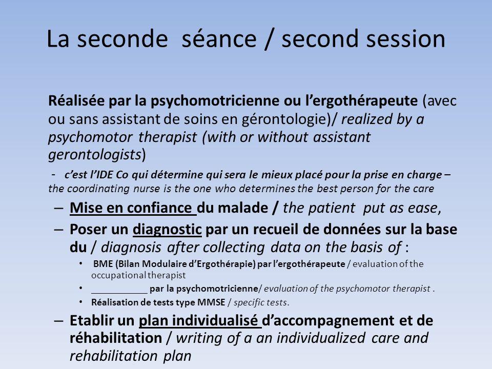 La seconde séance / second session Réalisée par la psychomotricienne ou lergothérapeute (avec ou sans assistant de soins en gérontologie)/ realized by